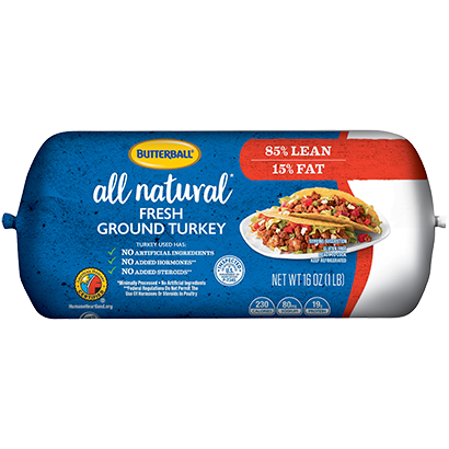 Fresh All Natural Ground Turkey 85/15 Roll Package