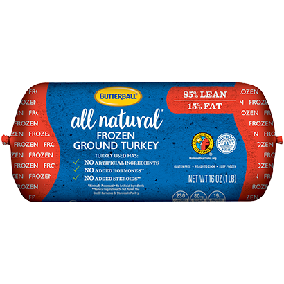 Frozen All Natural Ground Turkey 85/15 Roll Package