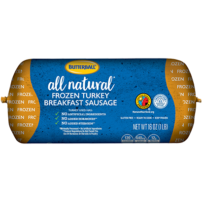 All Natural Frozen Turkey Breakfast Sausage Package