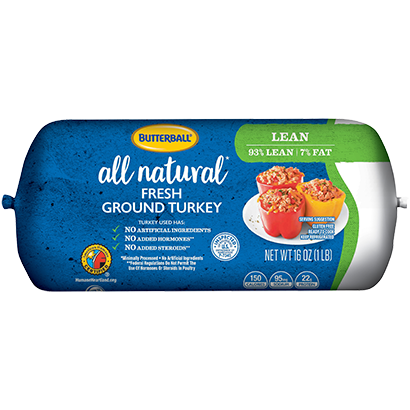 Fresh All Natural Ground Turkey 93/7 Roll Package