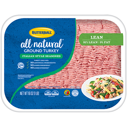 Fresh Italian Style Seasoned All Natural Ground Turkey 91/9 Package