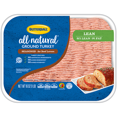 Fresh Seasoned All Natural Ground Turkey 91/9 Package
