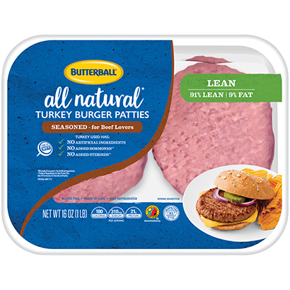 Fresh Seasoned Turkey Burger Patties Package