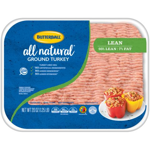 Fresh All Natural Ground Turkey 93/7 Package
