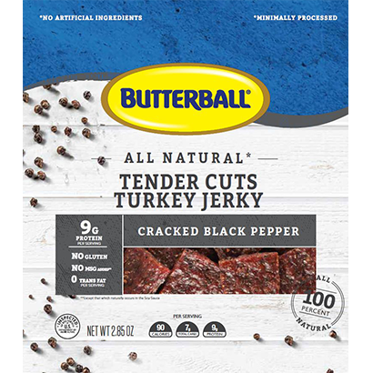 All Natural Tender Cuts Turkey Snack Cracked Black Pepper Flavor Package