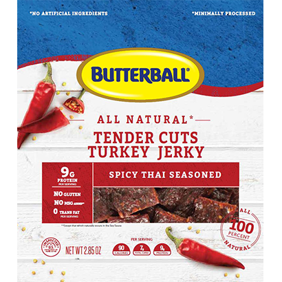 All Natural Tender Cuts Turkey Snack Thai Chili Flavor Package