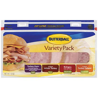 Turkey Ham, Smoked White Turkey, Turkey Bologna & Turkey Salami Variety Pack Package