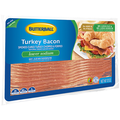 Lower Sodium Turkey Bacon Package