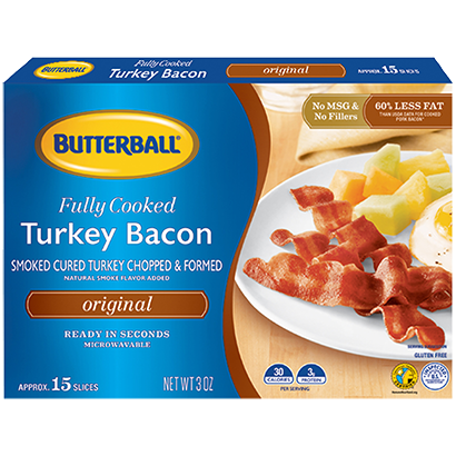 Fully Cooked Turkey Bacon Package