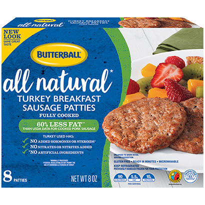 All Natural Turkey Breakfast Sausage Patties Package