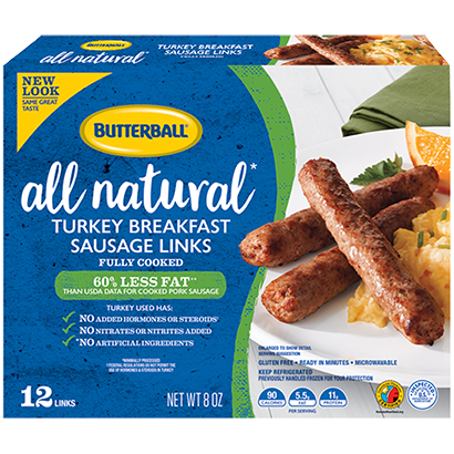 All Natural Turkey Breakfast Sausage Links Package