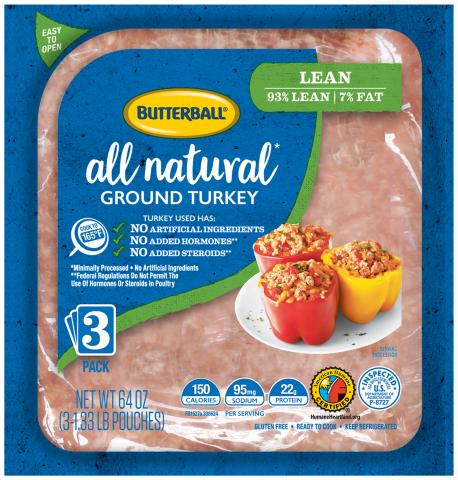 Fresh All Natural Ground Turkey 93/7 Flex Pack Package