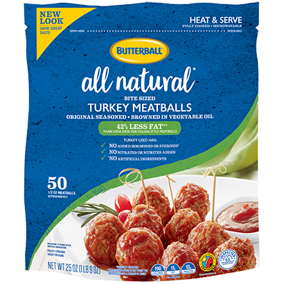 All Natural Frozen Turkey Meatballs Package