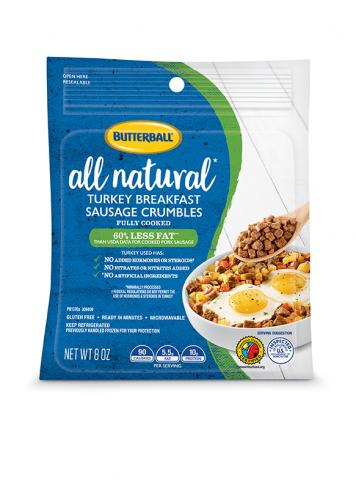 All Natural Turkey Breakfast Sausage Crumbles Package